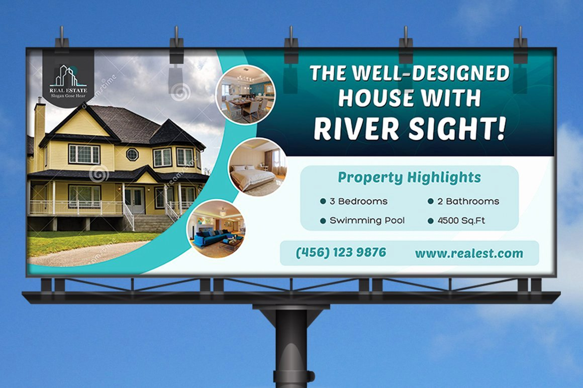 Billboard Design Template Free Elegant Real Estate Business Billboard Templates Creative Market