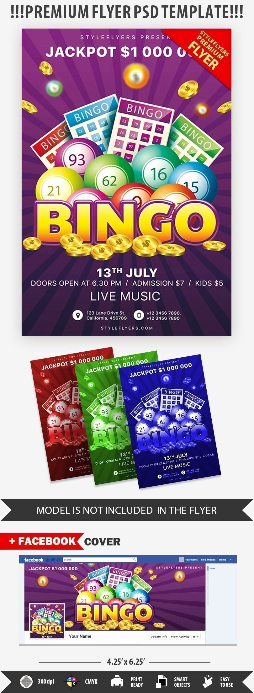 Bingo Flyer Template Free Awesome Bingo Psd Flyer Template Styleflyers