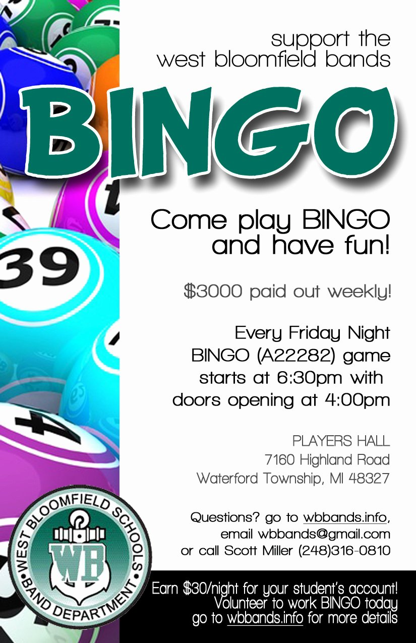 Bingo Flyer Template Free Elegant Page Not Found West Bloomfield Bands