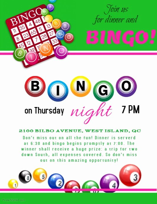 Bingo Flyer Template Free Inspirational Bingo Night Template