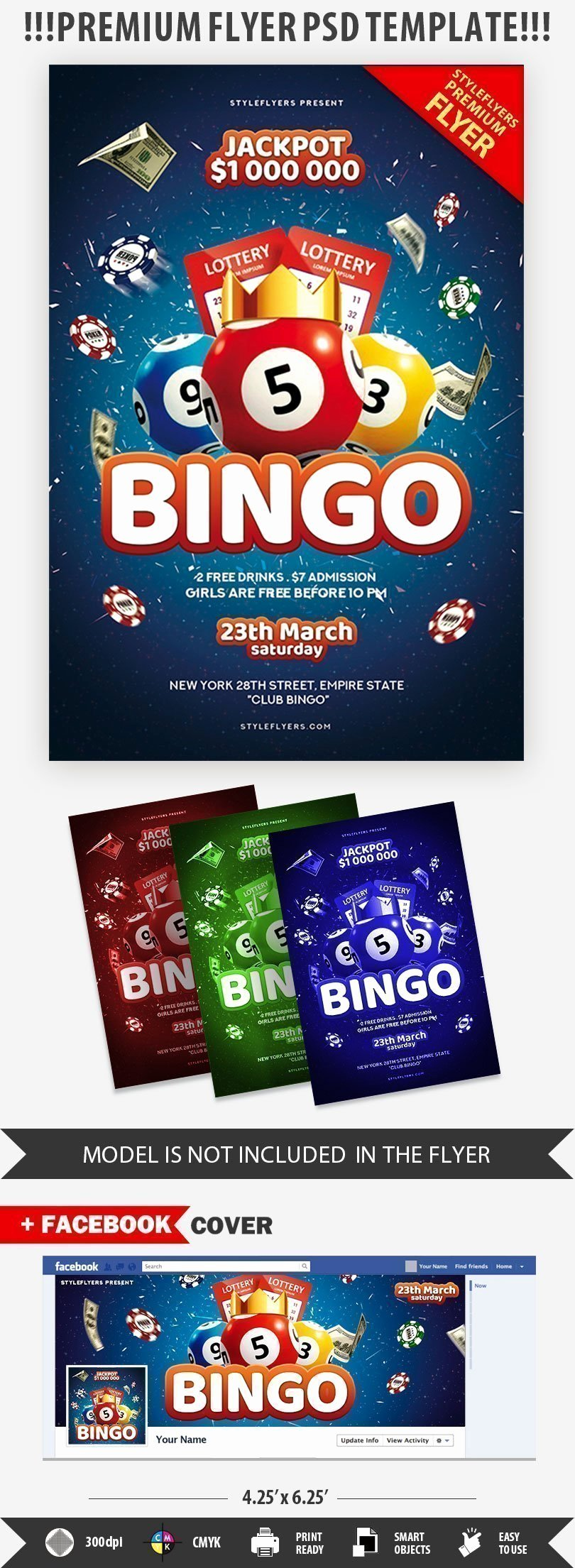 Bingo Flyer Template Free Lovely Bingo Psd Flyer Template Styleflyers