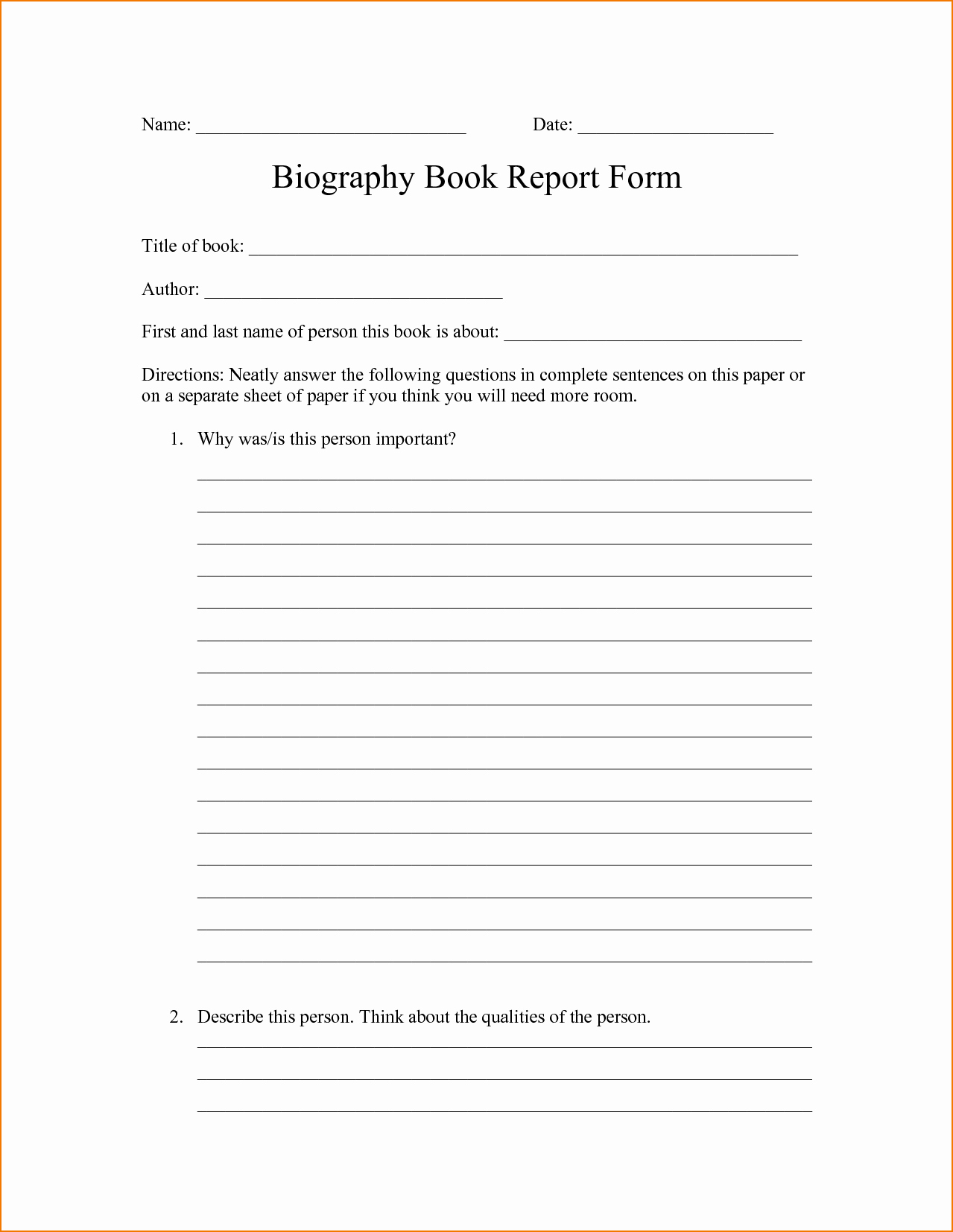 Biography Book Report Template Awesome 4 Biography Report Template