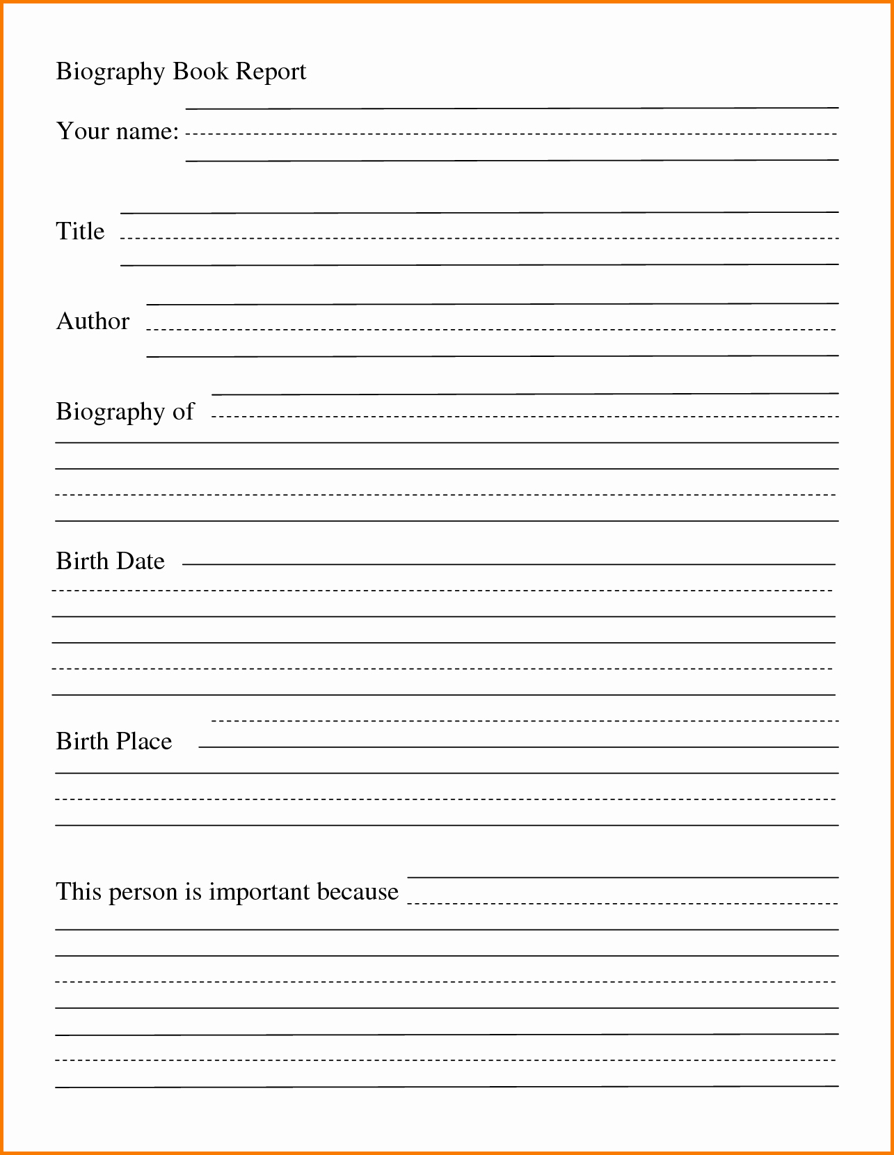 Biography Book Report Template Awesome Free Printable Biography Book Report form