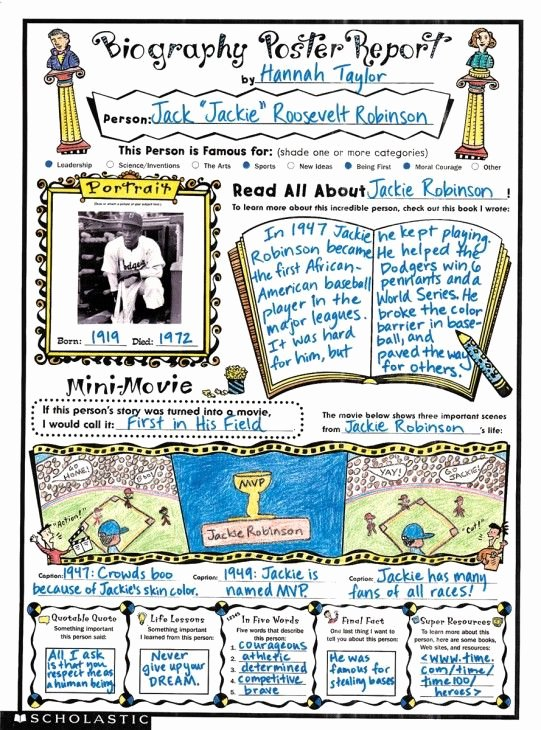 Biography Book Report Template Best Of Biography Book Report Middle School Biography Book