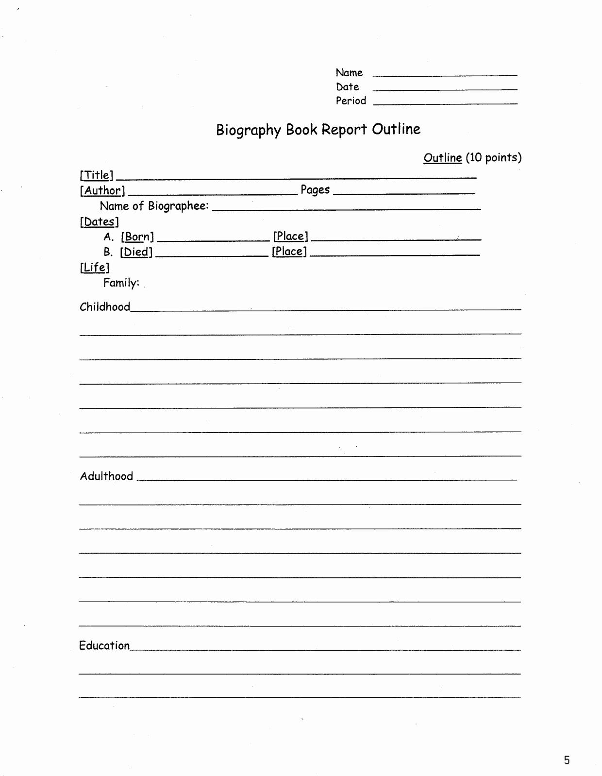 Biography Book Report Template Inspirational Biography Book Report Outline Book Report