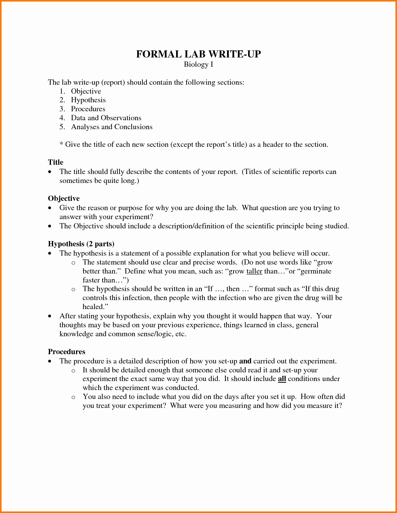 Biology Lab Report Template Lovely 9 formal Lab Report Example Biology