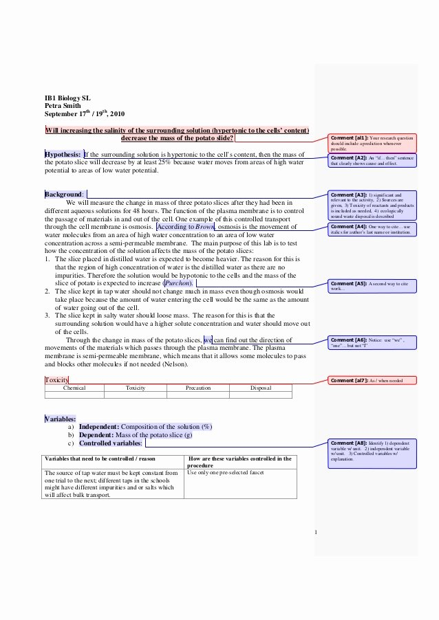 Biology Lab Report Template Luxury Ib Biology Lab Report Sample