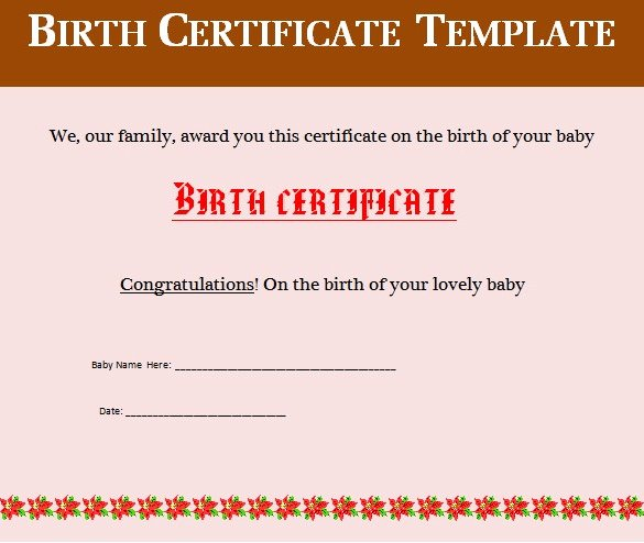 Birth Certificate Template Word Inspirational Birth Certificate Template 38 Word Pdf Psd Ai