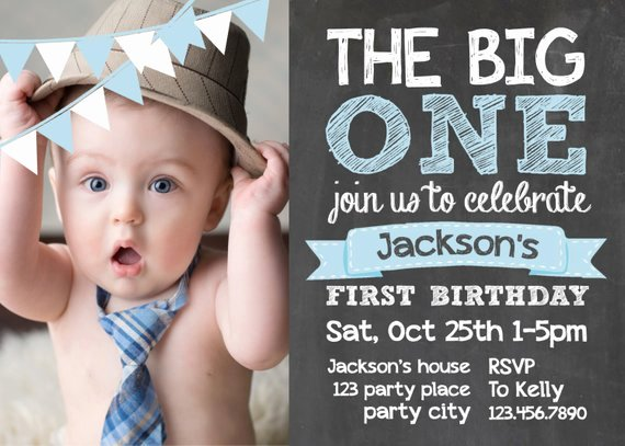 Birthday Card Template Photoshop Beautiful Items Similar to Chalkboard First Birthday Invite Card 1st