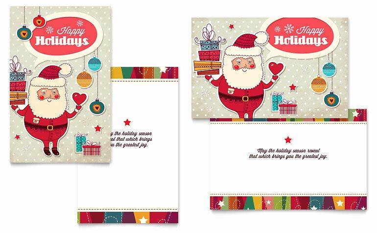 Birthday Card Template Publisher Unique Retro Santa Greeting Card Template Word & Publisher