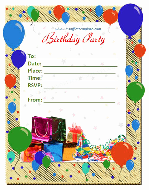 Birthday Card Template Word Luxury Free Word Templates Birthday Invitation Template
