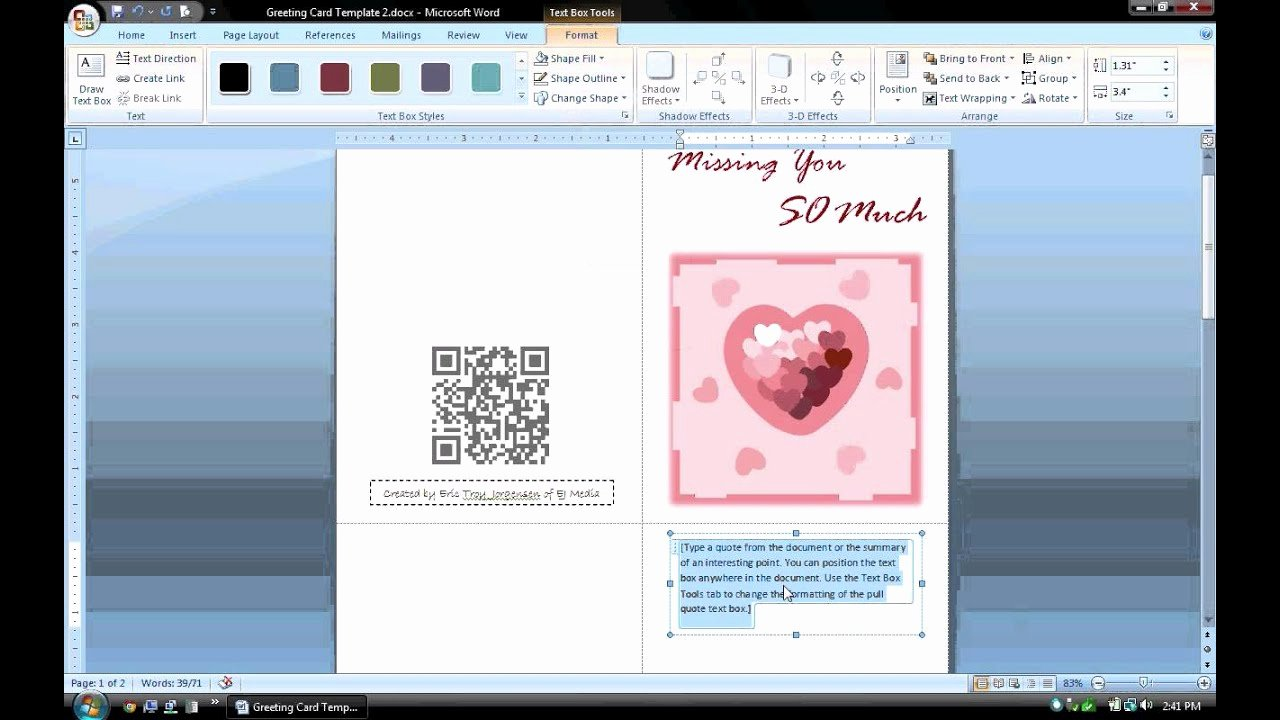 Birthday Card Template Word New Ms Word Tutorial Part 1 Greeting Card Template