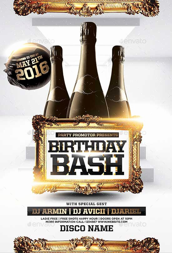 Birthday Flyer Template Free Beautiful Birthday Bash Party Flyer Template