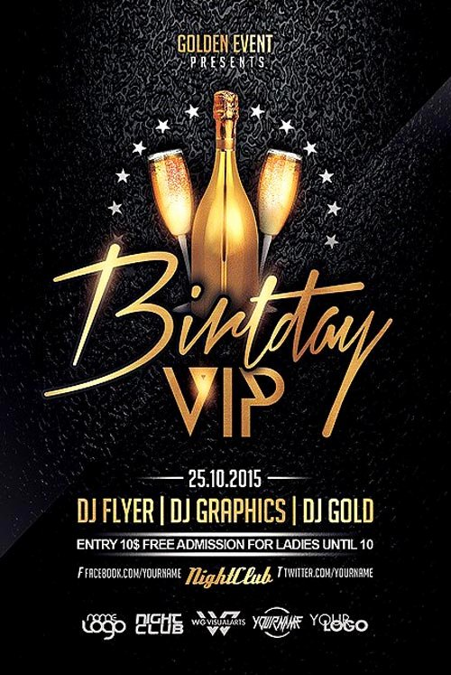 Birthday Flyer Template Free Elegant Birthday Vip Party Flyer Template Flyer for Club and