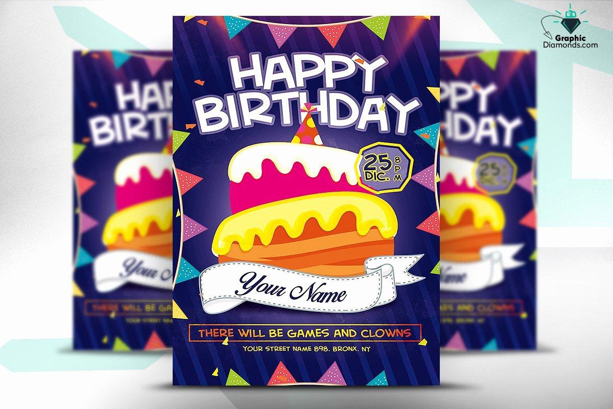 Birthday Flyer Template Free Fresh Kids Happy Birthday Flyer Psd Flyer Templates Creative