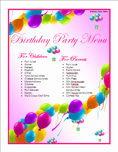 Birthday Flyer Template Word Beautiful Birthday Menu Template Microsoft Word Templates