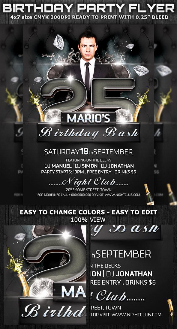 Birthday Flyer Template Word Inspirational Birthday Bash Party Club Flyer Template