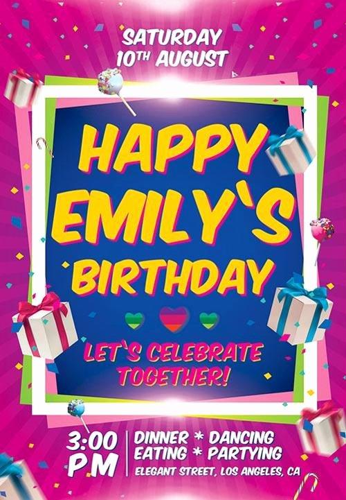 Birthday Invitation Template Photoshop Awesome 11 Beautiful & Free Birthday Flyers Templates
