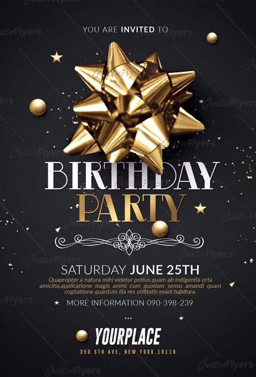 Birthday Invitation Template Photoshop Beautiful Birthday Party Flyer Psd