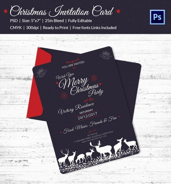 Birthday Invitation Template Photoshop Fresh 25 Christmas Invitation Templates Psd Eps Vector Ai