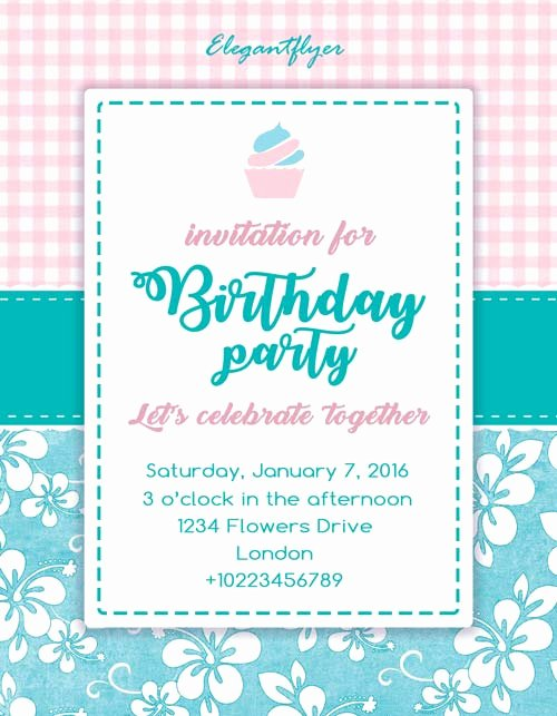 Birthday Invitation Template Photoshop Fresh Birthday Party Invitation Free Flyer Template Download