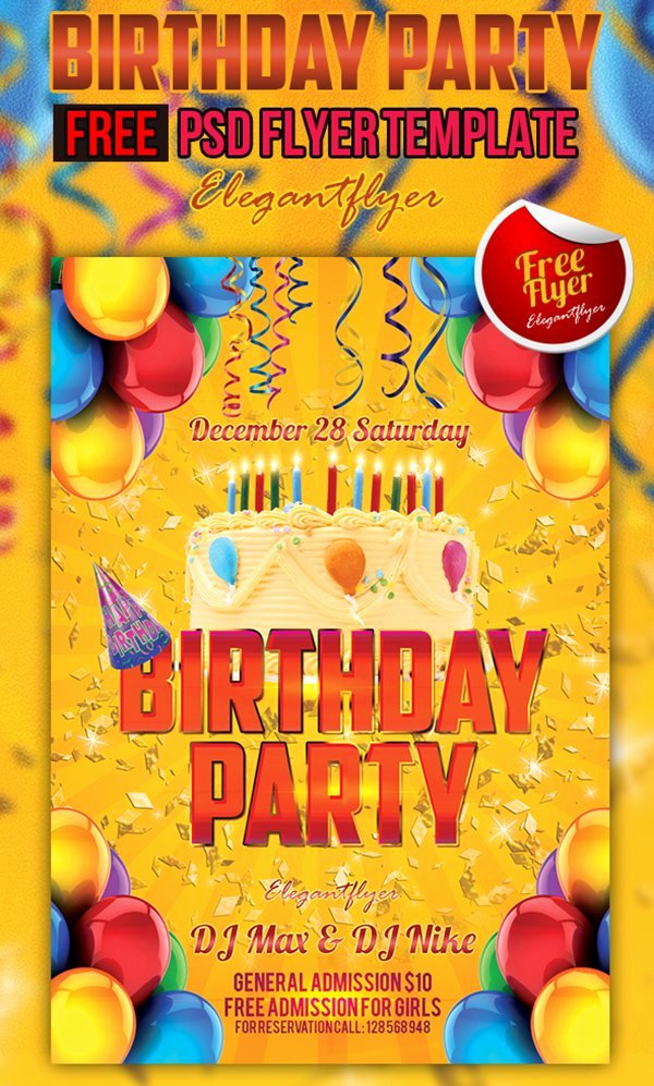 Birthday Party Flyer Template Beautiful 90 Awesome Free Psd Flyer Templates