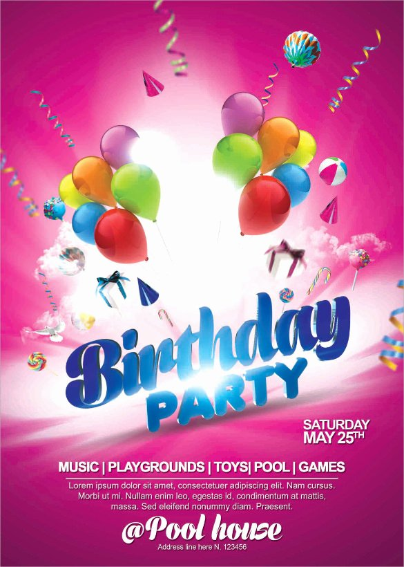 Birthday Party Flyer Template Elegant 25 Spectacular Birthday Flyers Templates