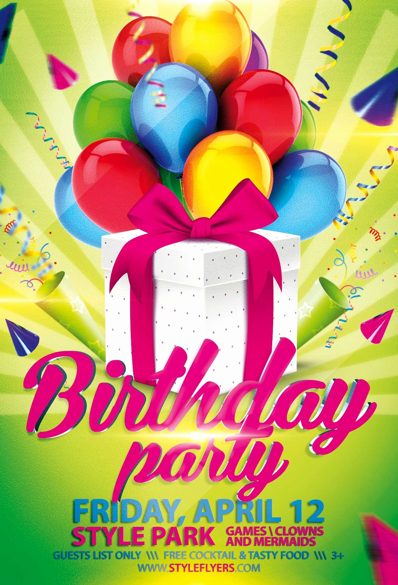 Birthday Party Flyer Template Elegant Birthday Party Psd Flyer Template with Animated Fully