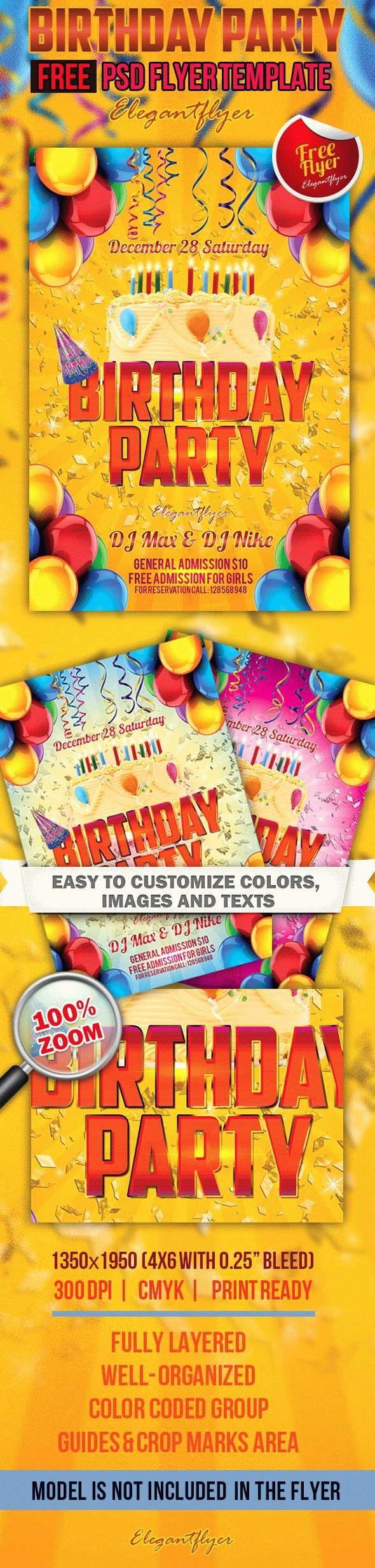 Birthday Party Flyer Template Inspirational Birthday Party Free Flyer Template – by Elegantflyer