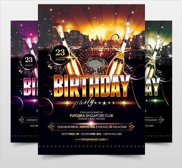 Birthday Party Flyer Template Lovely 34 Birthday Flyer Templates Word Psd Ai Indesign