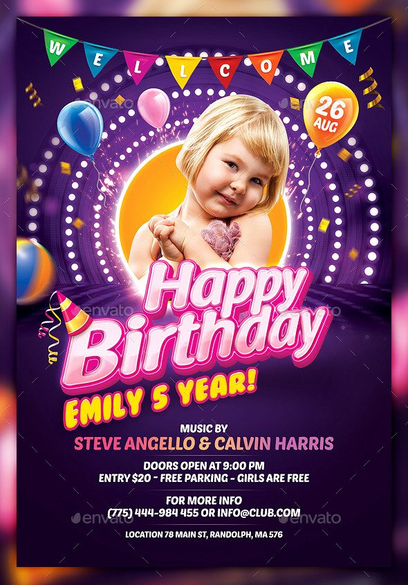 Birthday Party Flyer Template New 34 Birthday Flyer Templates Word Psd Ai Indesign