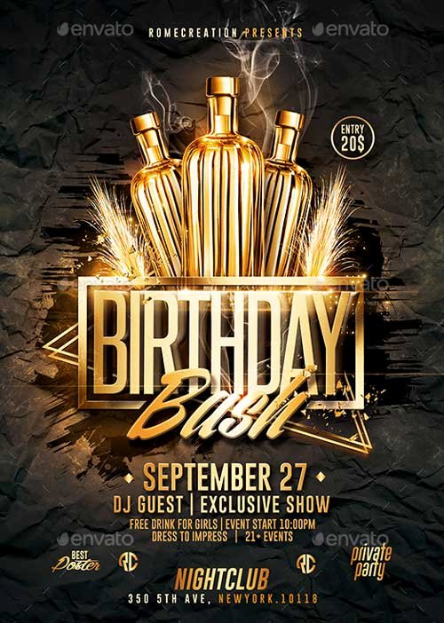 Birthday Party Flyer Template New Download the Gold Birthday Bash Psd Flyer Template for