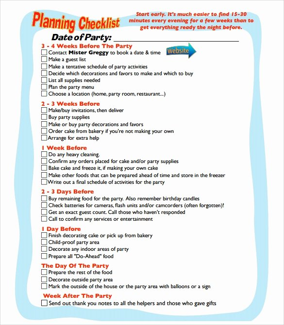 Birthday Party Planner Template Fresh 9 Party Planning Samples