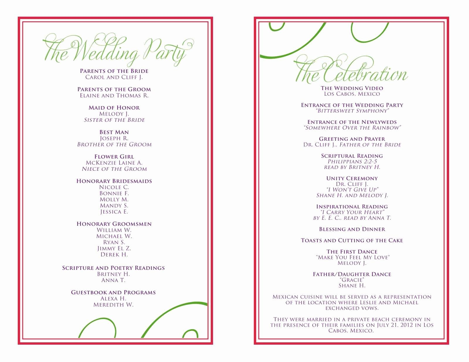Birthday Party Program Template Awesome 50th Birthday Party Program Elegant Birthday Program