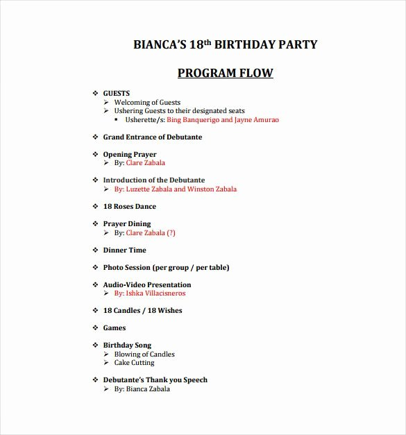 Birthday Party Program Template Awesome Birthday Program Template 11 Free Word Pdf Psd Eps