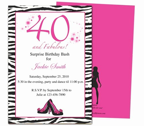 Birthday Party Program Template Awesome Fabulous 40th Birthday Party Invitation Template