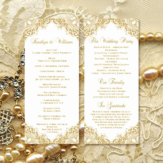 Birthday Party Program Template Awesome Wedding Ceremony Program Template Vintage Gold