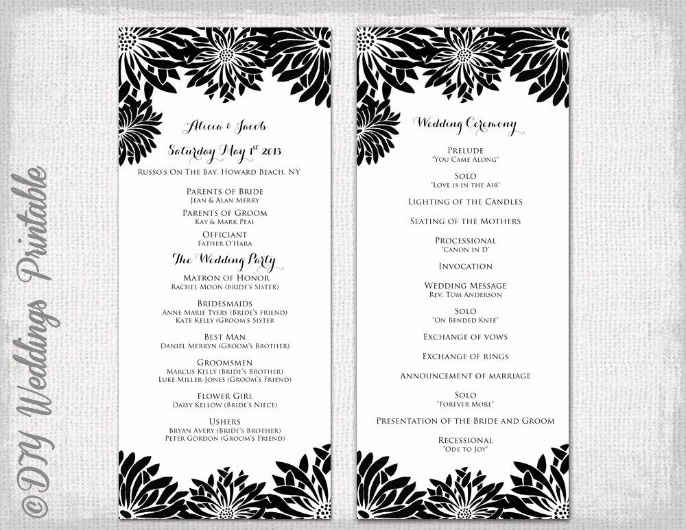 Birthday Party Program Template Lovely Printable Wedding Program Template Black & White