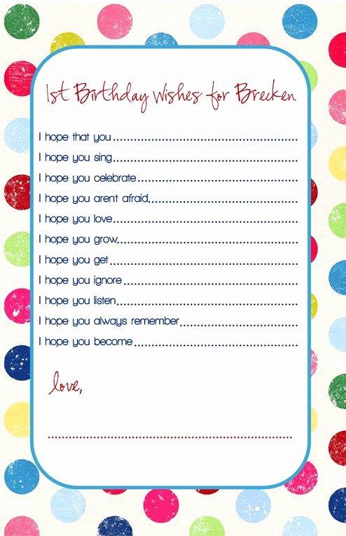 Birthday Wish List Template Beautiful Birthday Wish Cards Printable