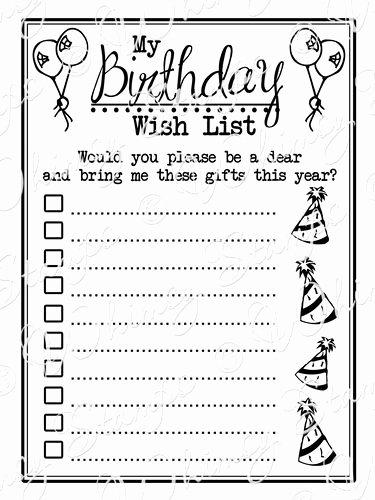 Birthday Wish List Template Best Of 4 Best Of Birthday Gift List Printable Free