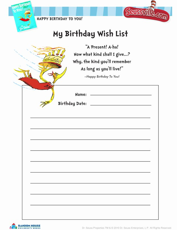 Birthday Wish List Template Fresh 5 Best Of Birthday Wish List Template Printable