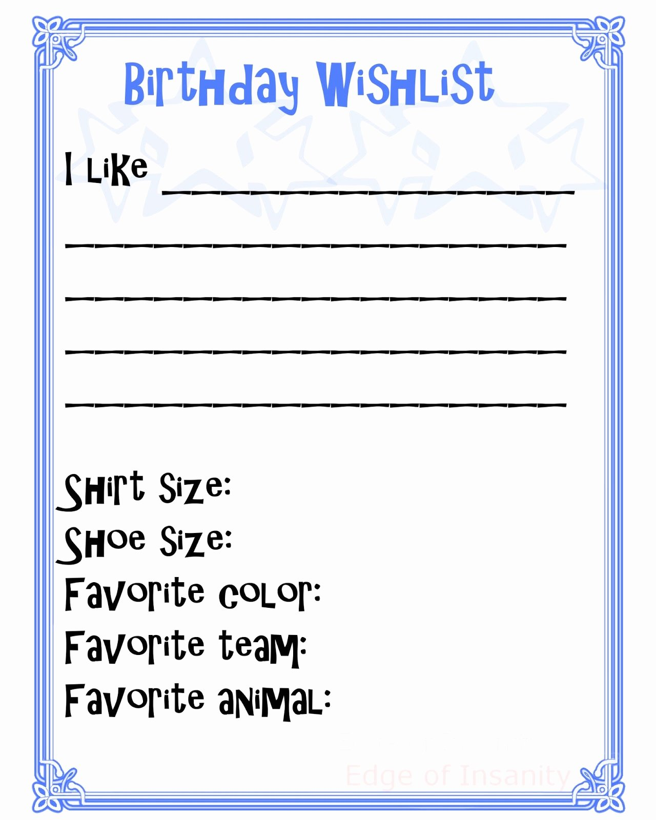 Birthday Wish List Template Fresh 6 Best Of Wish List Printable Free Printable