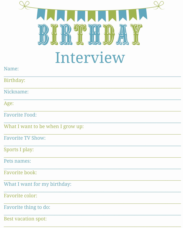 Birthday Wish List Template Luxury Birthday Interview Printable Living A Sunshine Life
