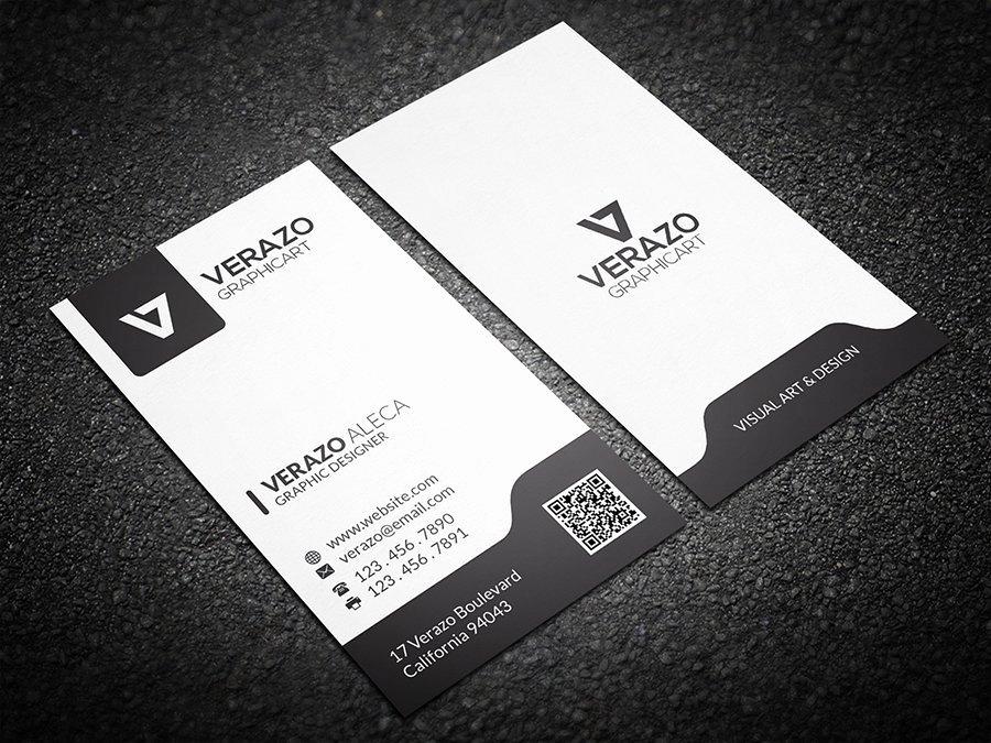 Black Business Card Template Lovely Black & White Vertical Business Card Business Card