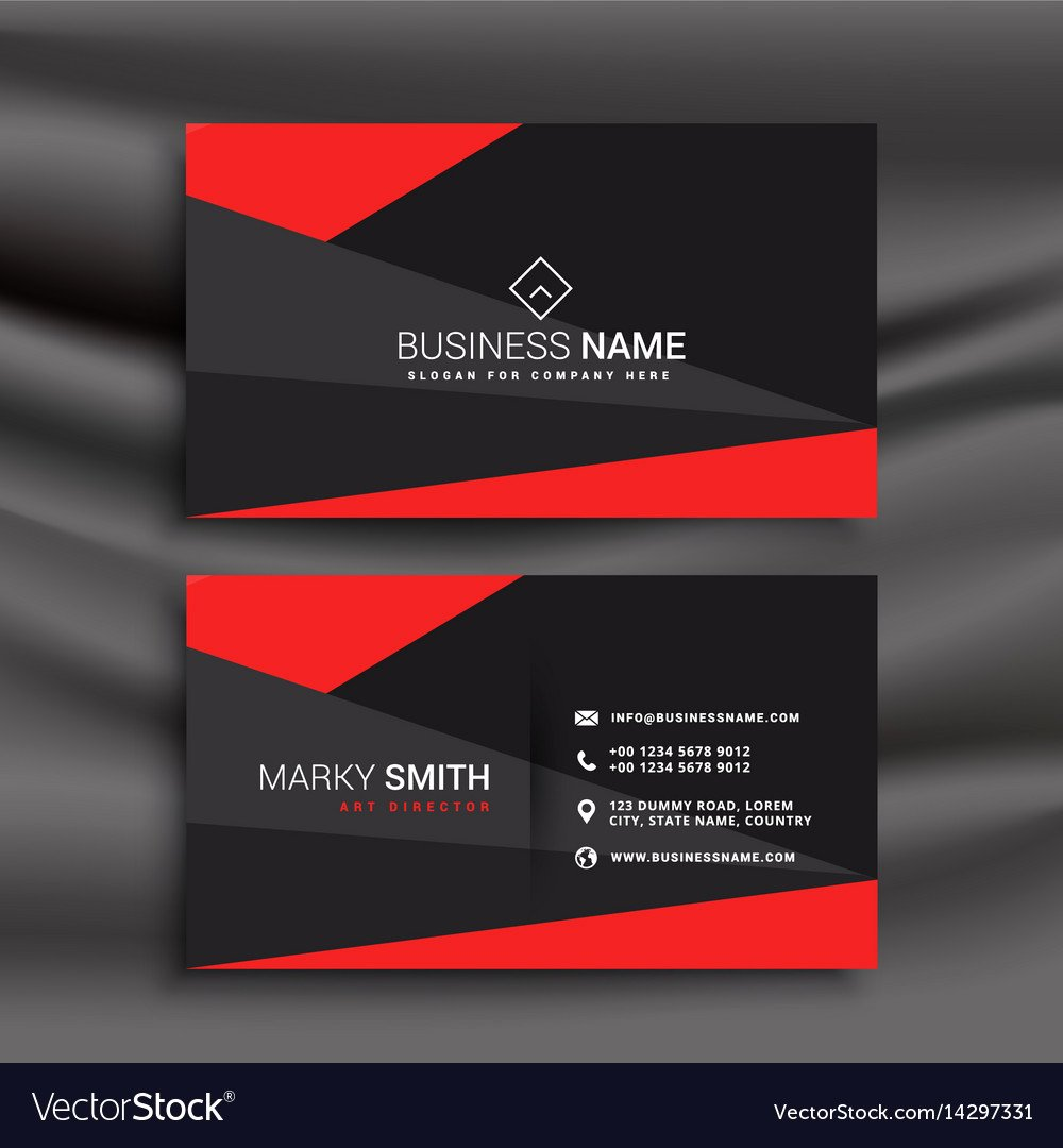 Black Business Card Template New Black and Red Business Card Template with Vector Image