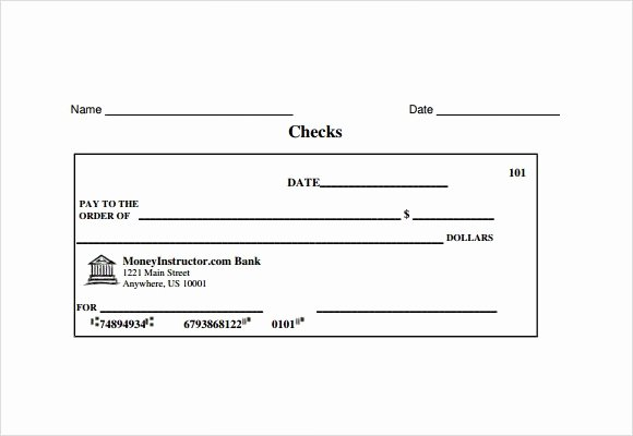 Blank Cashiers Check Template Luxury 8 Sample Check Templates to Download