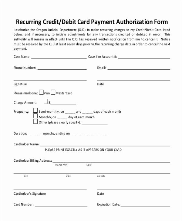 Blank Credit Card Template Best Of Blank Credit Card Authorization form Sample Credit Card