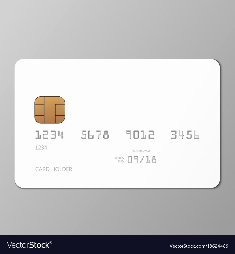 Blank Credit Card Template Fresh Realistic White Credit Card Mockup Template with Vector