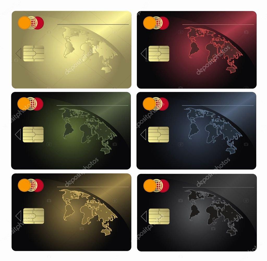 Blank Credit Card Template Inspirational Raster Blank Credit Card Colors Collection Template