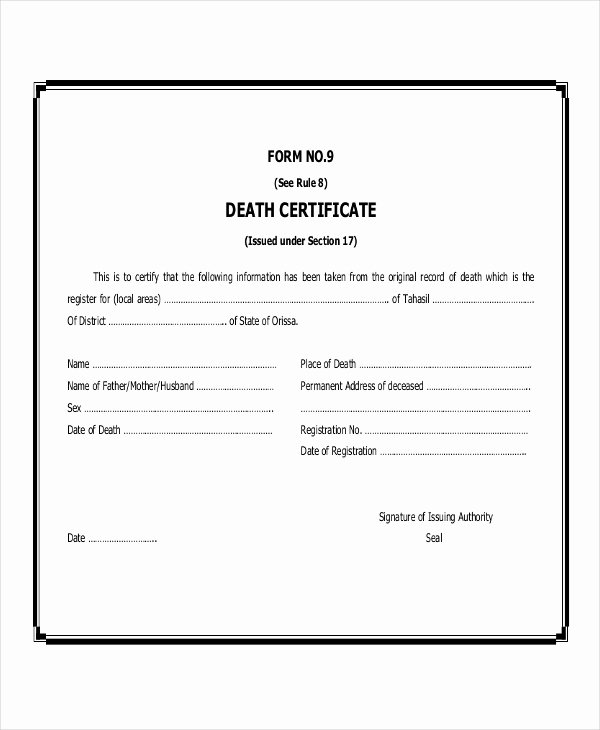 Blank Death Certificate Template Awesome Sample Death Certificate In Philippines Fresh Delig